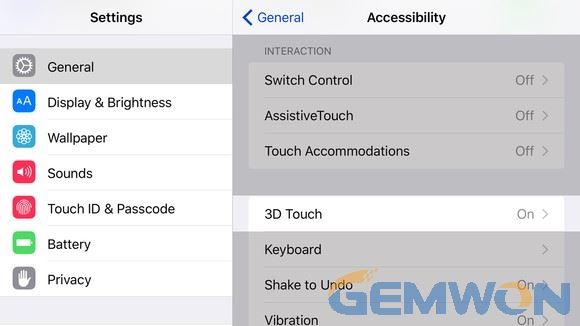 3D touch sensitivity